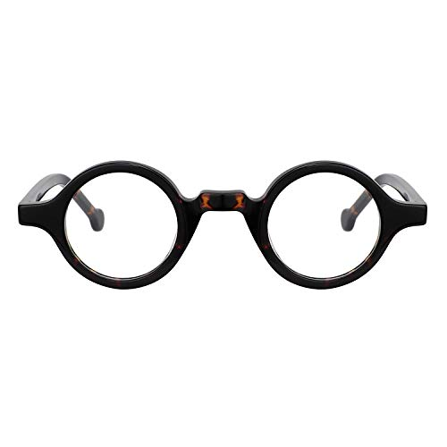 Zeelool Unisex Acetate Vintage Small Round Eyeglasses Frame Arale FA0176-02 (Tortoise)