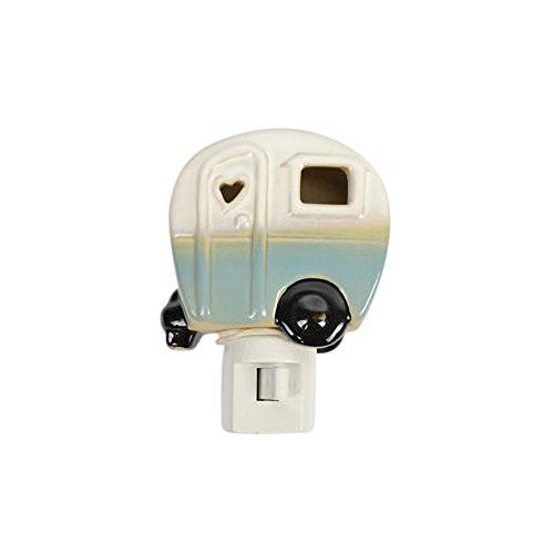 Drew Derose Glossy Blue Whimsical Camper RV Heart 7 x 4 Ceramic Night Light by Drew Derose
