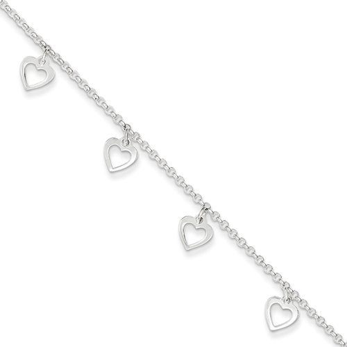 erling Silver Dangling Open Heart Charm Adjustable Anklet, 9 Inch ()