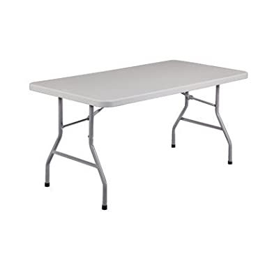 National Public Seating BT3060 Steel Frame Rectangular Blow Molded Plastic Top Folding Table, 1000 lbs Capacity, 60  Length x 30  Width x 29-1/2  Height, Speckled Gray/Gray