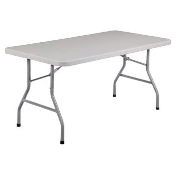 ikea white folding desk table square and chairs national public seating steel frame rectangular blow molded plastic top lbs capacity length width height