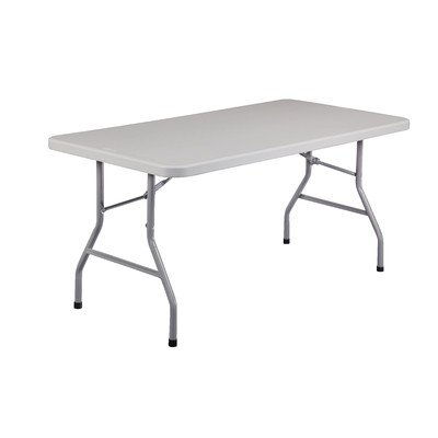 National Public Seating BT3060 Steel Frame Rectangular Blow Molded Plastic Top Folding Table, 1000 lbs Capacity, 60