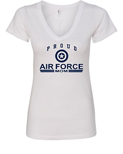 Proud Air Force Mom V-Neck T-Shirt US Air Force USAF White M