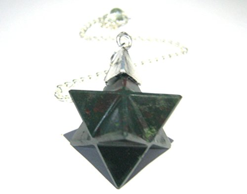CRYSTALMIRACLE BLOODSTONE MERKABA STAR PENDULUM CUM PENDANT CRYSTAL HEALING REIKI FENG SHUI GIFT JEWELRY POSITIVE ENERGY PEACE HEALTH WEALTH MEDITATION POWER LOVE SPIRITUAL METAPHYSICAL GEMSTONE (Pendulum Bloodstone)