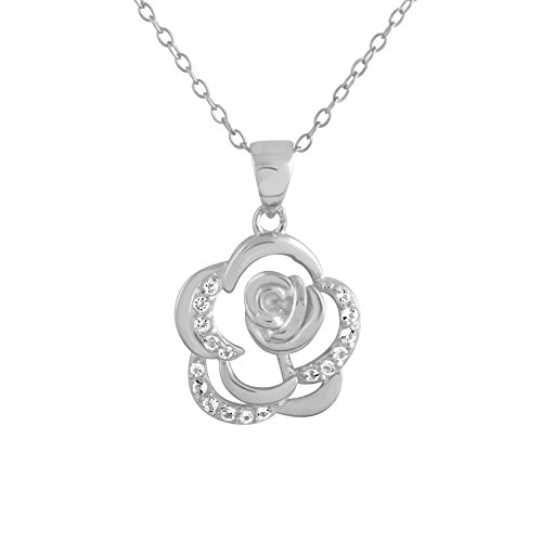 Sterling Silver Rhodium Plated White Topaz Open Flower Pendant Necklace, 18