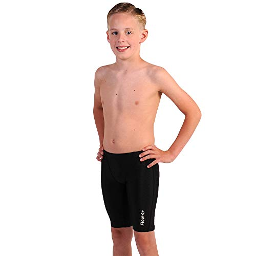 Swimsuit Boys Racing - Flow Swim Jammer - Boys Youth Sizes 20 to 32 in Black, Navy, and Blue (25, Black Crescents)