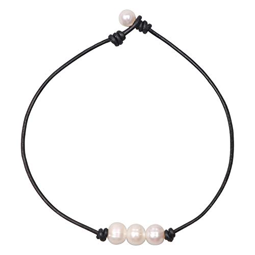 Women White 3 Cultured Freshwater Pearls Choker Necklace on Genuine Leather Cord Knotted Jewelry-Black 16