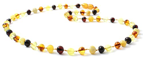 Baltic Amber Necklace for Adults - Size 17.5 inches (45 cm) - Suitable for Women and Men - Polished Multicolor Amber Beads - BoutiqueAmber (17.5 inches, Multicolor) Amber Jewelry Multi Color Necklace