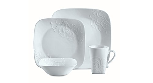 Corelle Cherish Square 1 Place Setting - 4 Pieces (1 plate, 1 salad plate, 1 bowl, 1 mug) (Corelle Bone compare prices)