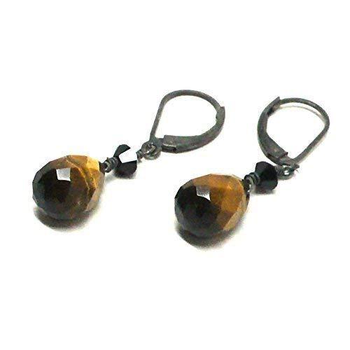 - Tiger Eye Briolette Sterling Silver Lever Back Earrings Swarovski Crystal Custom