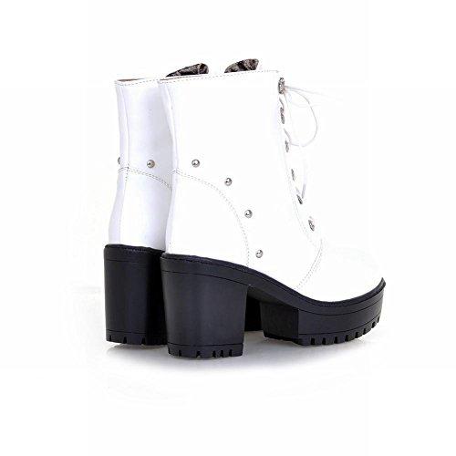 Latasa Womens Charm Stivaletti Stringati Con Tacco Medio Alti Alla Caviglia E Tacco Medio Bianco