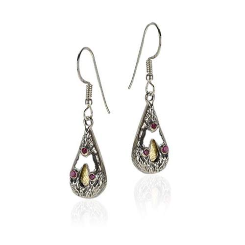 (Silver Teardrop Earrings with 9k Gold And)