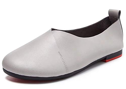 Kunsto Women's Genuine Leather Comfort Glove Shoes Ballet Flat US Size 10.5 Grey