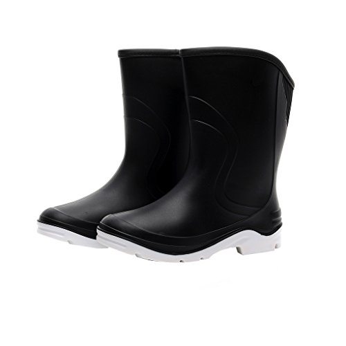 Kontai Women Half Calf Ankle Rubber Rainboots 2 Color Waterproof Boots for Garden Rain Round Toe Rainboots Size 7.5 by Kontai