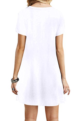 Yming Multicolore À Manches Courtes Occasionnels Femmes Robe T-shirt Loose Xs-4xl White01