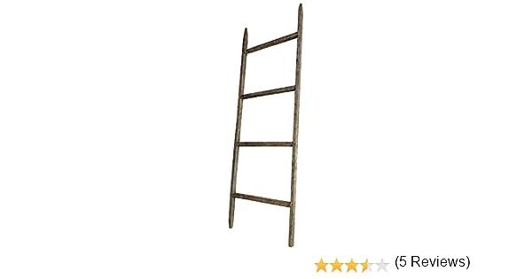 Fifth + Nest Quinto + Nido Tabaco Stick Manta Escalera rústica Granja estantería Home Decor – Madera 4 pies, Fabricado en los Estados Unidos para Mostrar Mantas, colchas, Toallas y Ropa de