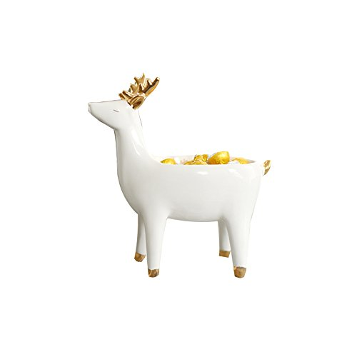 Colias Wing Home Decoration Desk Ornaments-Lovely Animal Deer Stylish Design Ceramic Trinkets Tray Necklace Earrings Rings Stand Display Organizer Holder Jewelry Holder Decor Dish Plate-White -