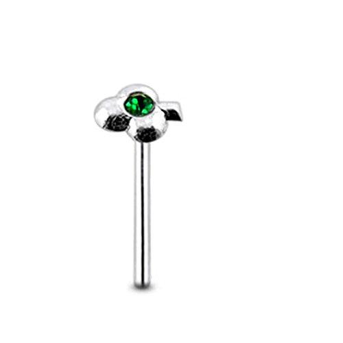 Dark Green Gem Clover Sterling Silver Straight Nose Pin Body Jewelry
