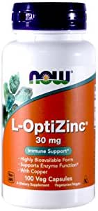 NOW Foods Opti L-zinc, 30mg, 100 Capsules (Pack of 2)
