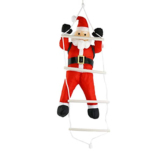 Athoinsu Hanging Christmas Decorations Santa Claus Climbing On Rope Ladder Toy 24'' Christmas Tree Ornaments Indoor Outdoor Holiday Fireplace Decoration Xmas Party Prop(Style 2) ()