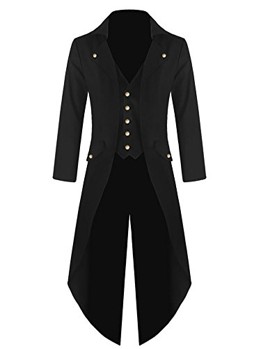 Mens Steampunk Victorian Jacket Gothic Tailcoat Costume Vintage Tuxedo Viking Renaissance Pirate Halloween Coats (Small, Black)