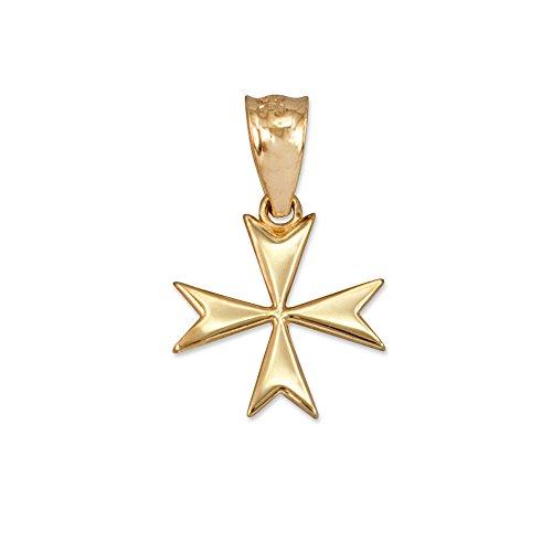14K Yellow Gold Tiny Maltese Cross Charm Pendant