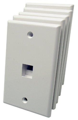 UPC 813020011716, Shaxon BM303WP1-5B, 1 Port Single Gang White Keystone Wall Plates, 5 Pack