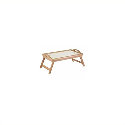 Pemberly Row Bed Tray with Handle in Natural and White Top