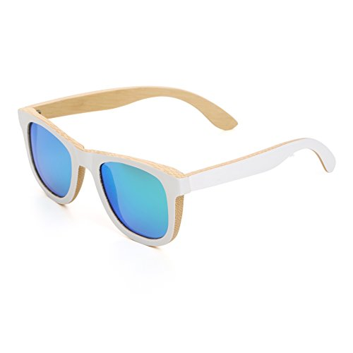 Mini Tree Wayfarer Anti-Glare Polarized Bamboo Sunglasses White Frame Vintage Eyewear Unisex WB500 (Bamboo, - White Sunglasses Personalized