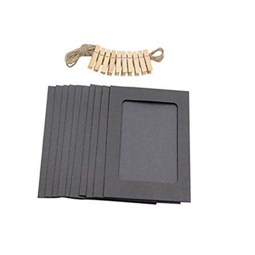 e(TM)10Pcs 3Inch Paper Photo FLIM DIY Wall Picture Hanging Frame Album+Rope+Clips Set (Black) ()