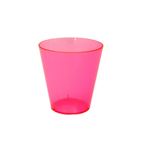 Party Essentials Hard Plastic 2-Ounce Shot/Shooter Glasses, Neon Pink, 50 - Pink Glass Glasses Shot
