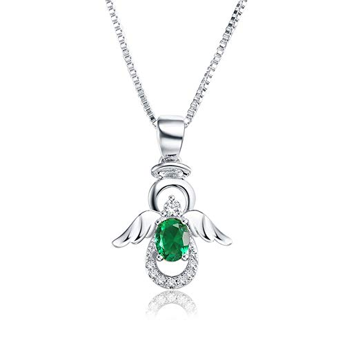 SKA Jewelry Angel Necklace for Girls Women Green Cubic Zirconia Lovely Angel with Wings Pendant Chain Necklace Adjustable 20