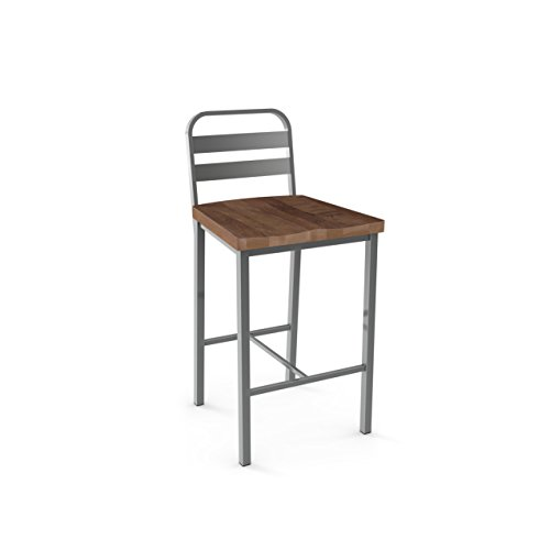 (Amisco Accord Metal Counter Stool in Glossy Grey Metal and Medium Brown Distressed Wood)