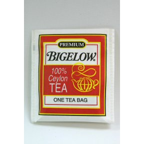 Bigelow Tea Company Products - Ceylon Black Tea, Individual Wrapped, 100/BX - Sold as 1 BX - Premium blend tea is 100 percent Ceylon Black Tea. Blend is made with the highest quality Orange Pekoe and Pekoe Cut Black Tea. Tea comes in individually paper wrapped tea bags.