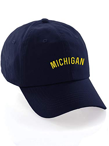(Daxton USA Cities Baseball Dad Hat Cap Cotton Unstructure Low Profile Strapback - Michigan Navy)