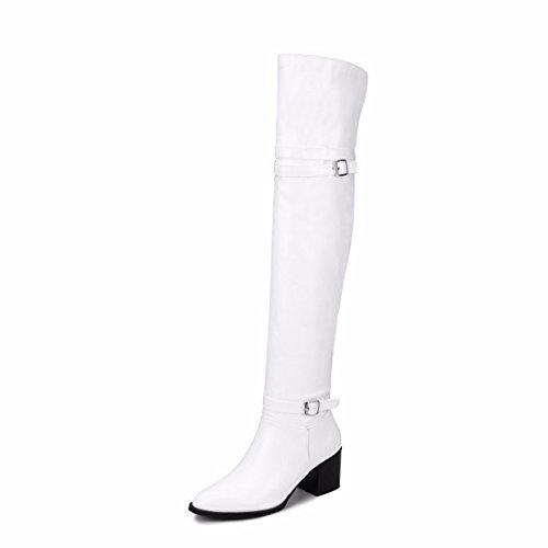 fe00d18f Botas Tamaño Los Shoes women's Muslo Alto Rff Hebilla Del Tacón Hembra Zapatos  De White Cinturón Invierno U0PWv