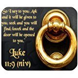Christian Bible Verse Mouse Pad, So I Say to You:Ask and it Will be Given to You;Seek and You Will Find;Knock and the Door Will be Opened to You.Luke 11:9 (niv) Mousepad Custom Freely Cloth Cover 9.84″ X 7.87″