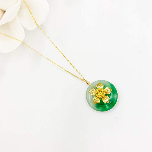 - [Yun Boutique] Chinese Vintage Style Jade Flower Necklace with Gold-filled Chain