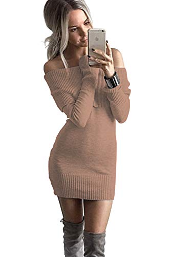 f Shoulder Long Sleeve Pencil Bodycon Knitted Sweater Mini Dress Pullover-Khaki ()