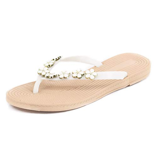 Naimo Bohemia Floral Flip Flops Sandals Beach Slippers Shoes White