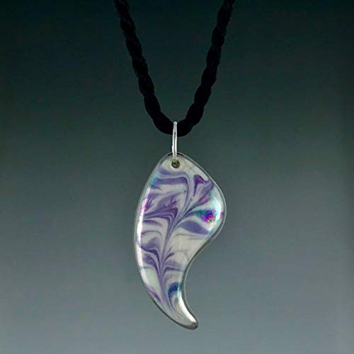 Lavender and purple marbled minnow paisley shaped porcelain pendant with 22K white gold trim on a black satin twist cord. -