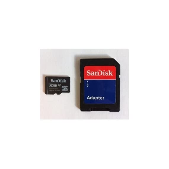 SanDisk 32GB MicroSDHC High Speed Class 4 Card with MicroSD to SD Adapter 1 Capacity: 32 GB Speed performance rating: Class 4 Type: SanDisk MicroSDHC card