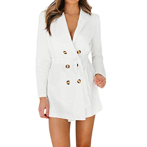 (Women's Double-Breasted Trench Coat Blazer with Belt Muranba (White, S))