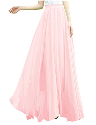 v28 Women Full/Ankle Length Elastic Retro Maxi Chiffon Long Skirt (M,Pink)
