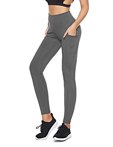 88fadafb759ea9 SXT High Waist Out Pocket Yoga Pants Tummy Control Workout Running  Compression Scrunch Butt Leggings(S, Gray)