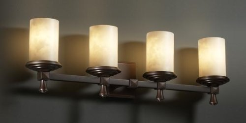 Justice Design Group ALR-8534-10-DBRZ 4 Light Bathroom Fixture from the Alabaster Rocks! Collection