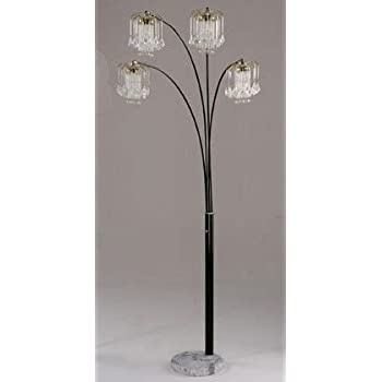 Arc Floor Lamp with Crystalline and Marble Base in Black Finish
