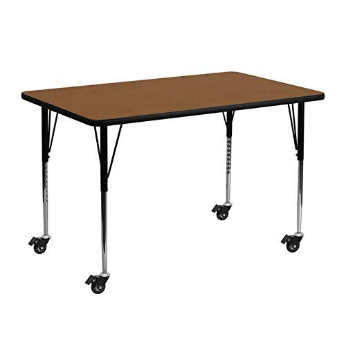 Flash Furniture Mobile 24''W x 48''L Rectangular Oak HP Laminate Activity Table - Standard Height Adjustable Legs