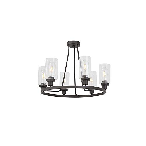 MELUCEE Industrial Semi Flush Mount Ceiling Light Oil Rubbed Bronze 6 Lights with Clear Glass Shade, Farmhouse Chandelier Island Lighting for Kitchen Dining Room Foyer Bedroom UL Listed Clear Glass Chandelier Shade