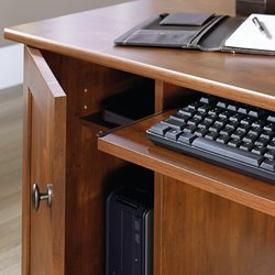 Computer Desk with 2 Storage Drawers in Brushed Maple Finish Grommet Hole for Electrical Cord Access One Interior Shelf and Filing Cabinet Drawer Keyboard Tray Made of Engineered Wood